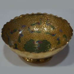 Peacock designed brass fruit bowl