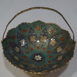 Beautiful peacock painted brass fruit bowl
