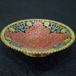 Bright red painted designed brass fruit bowl