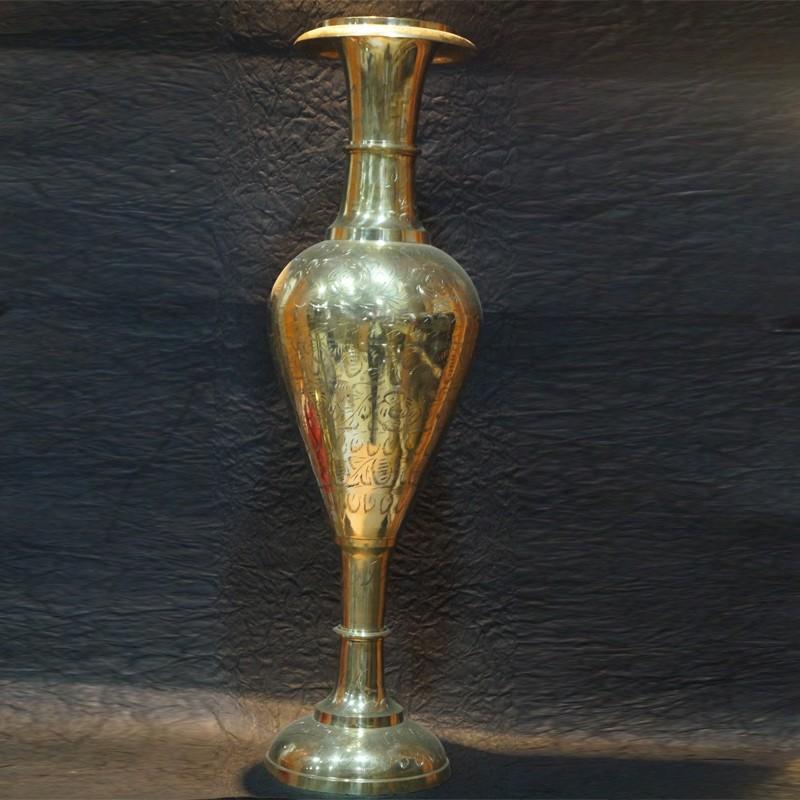 Puja Sanskaram & Long stand shining brass flower vase for Interior decor