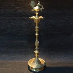 Kerala brass deepa with peacock