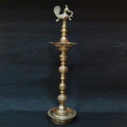 Peacock designed brass deepa