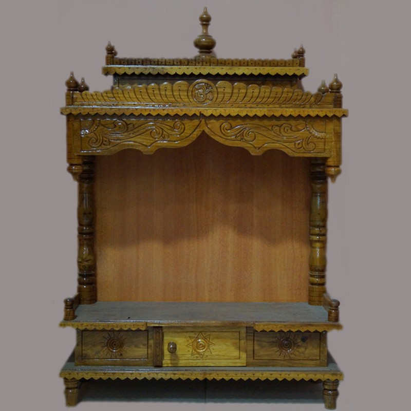 Designed teak wooden mantap with drawer