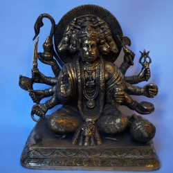 Dhyana Panchamukha Hanuman antique finished brass idol