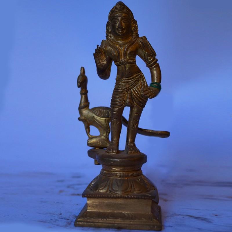 Lord Subramanya antique brass idol