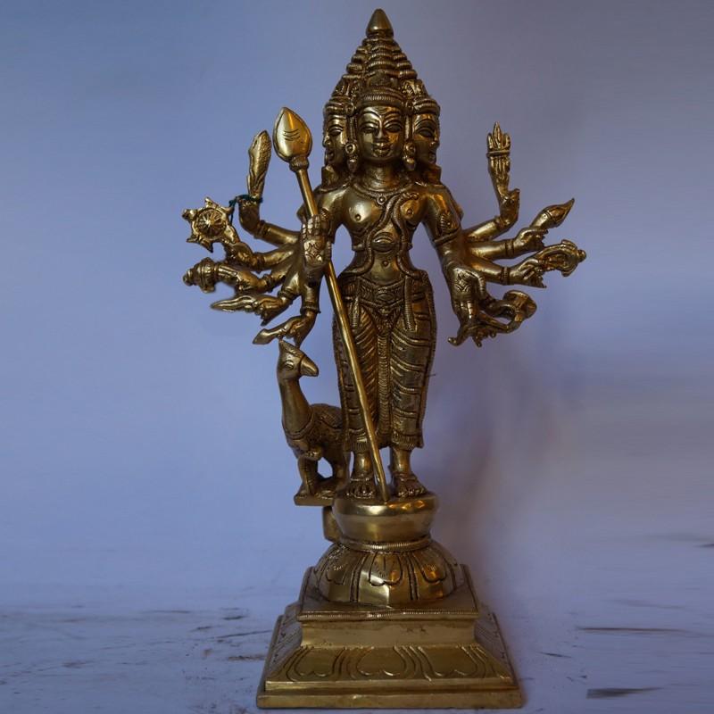 Lord Subramanya with mutli hands brass idol