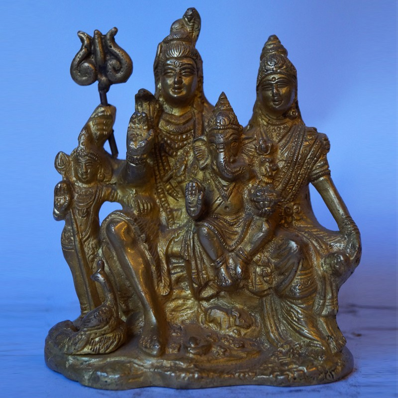 Buy Blessing Lord Shiva With His Family Brass Idol