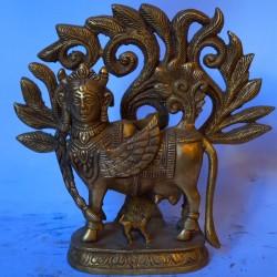 Hand crafted Kamadhenu brass idol