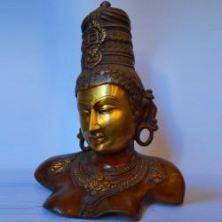 Bust size goddess Parvathi brass idol