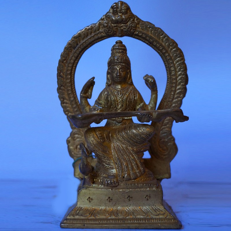 Hindu Goddess Saraswati brass statue