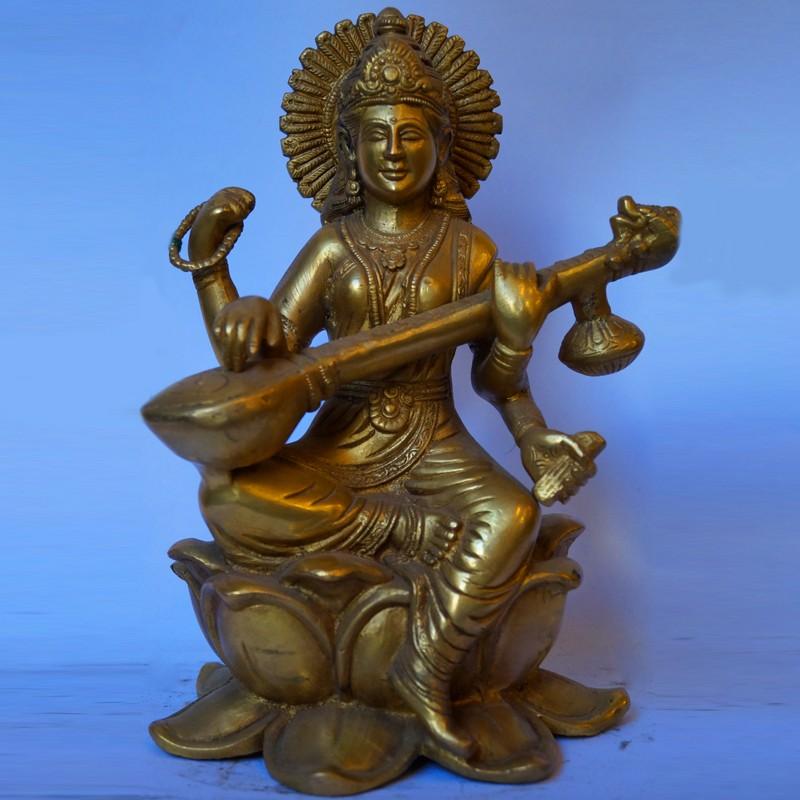 Goddess Saraswati sitting on lotus brass idol