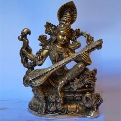 Goddess Saraswathi with veena brass statue