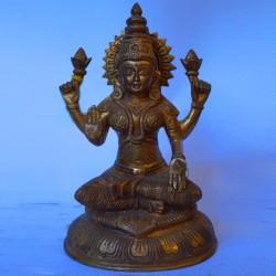 Goddess Lakshmi antique brass idol