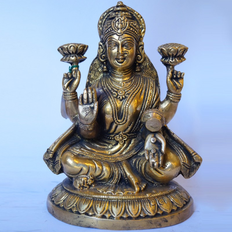 Goddess Lakshmi sitting brass idol