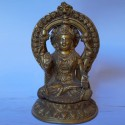 Goddess Lakshmi holding lotus flowers brass idol