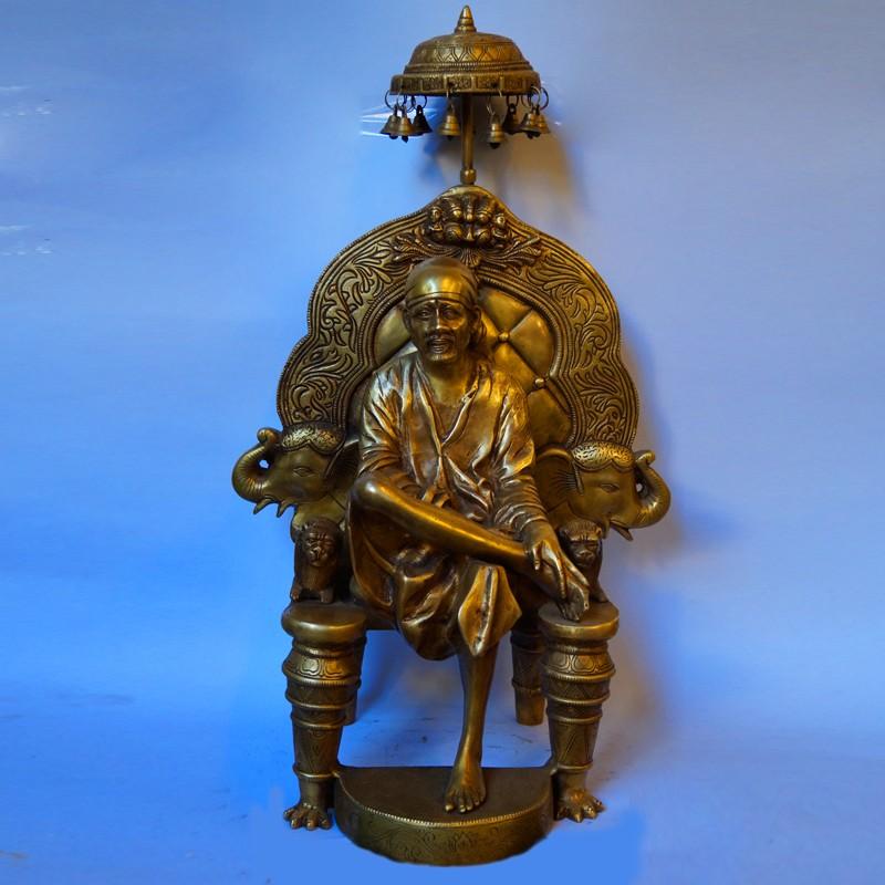 Sai baba sitting on chair brass idol