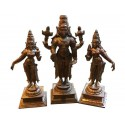 Copper 6 inches Balaji with Sridevi and Bhoo Devi