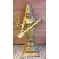 24 inches height Goddess Saraswathi standing brass statue