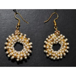 Circular artificial pearl Earrings