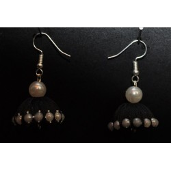 Silk thread artificial pearl studded Jumka