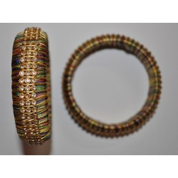 Multi colour Silk threaded Bangle with Stone lace _01