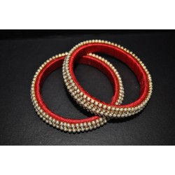 Silk thread artificial stone with pearl Bangle_01