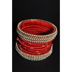 Silk thread artificial stone with pearl Bangle set_01