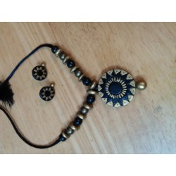 Terracotta Wheel Shaped Pendent Necklace with earrings