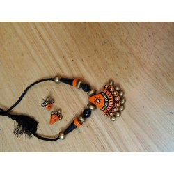Terracotta Bell Shaped Pendent Necklace with earrings