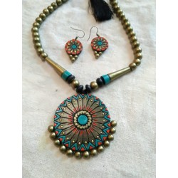 Terracotta circular flower Shaped Pendent Necklace with earrings