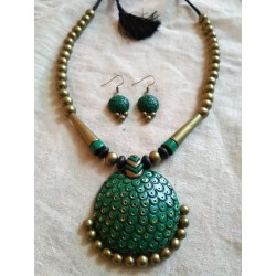 Terracotta Tortoise Shaped Pendent Necklace with earrings