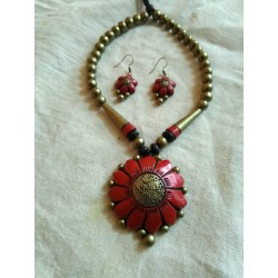 Terracotta Sun flower Shaped Pendent Necklace with earrings