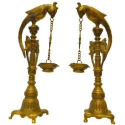 Brass Parrot Deepa Pair