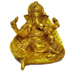 Ganesha on Leaf Brass Idol