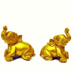 Sitting Baby Elephant Brass Statue