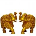 Elephants with Ganesha Motif Brass Statue