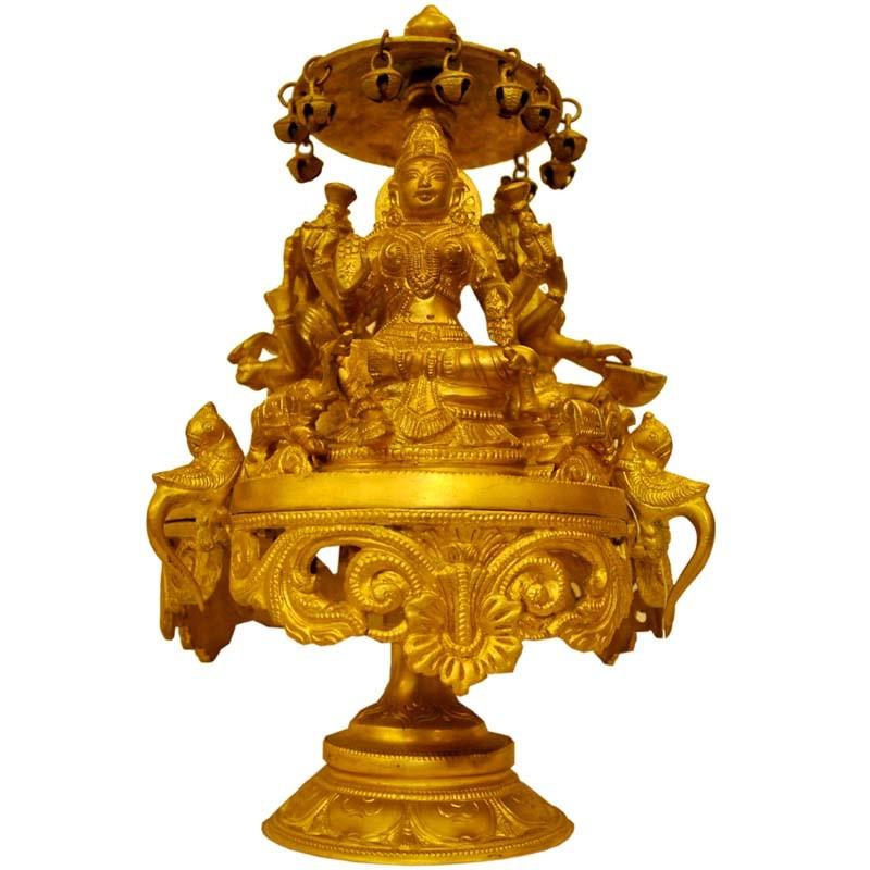 Lakshmi, Saraswathi, Ganesh - Rotating Brass