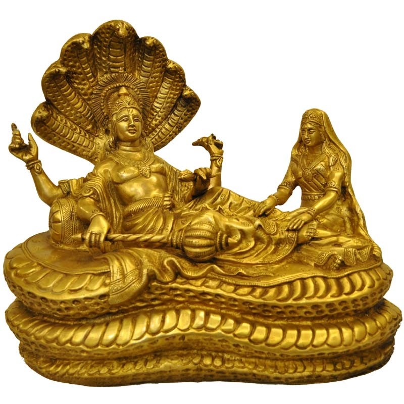 Vishnu Sleeping on Kalinga With Lakshmi Sitting Brass Statue