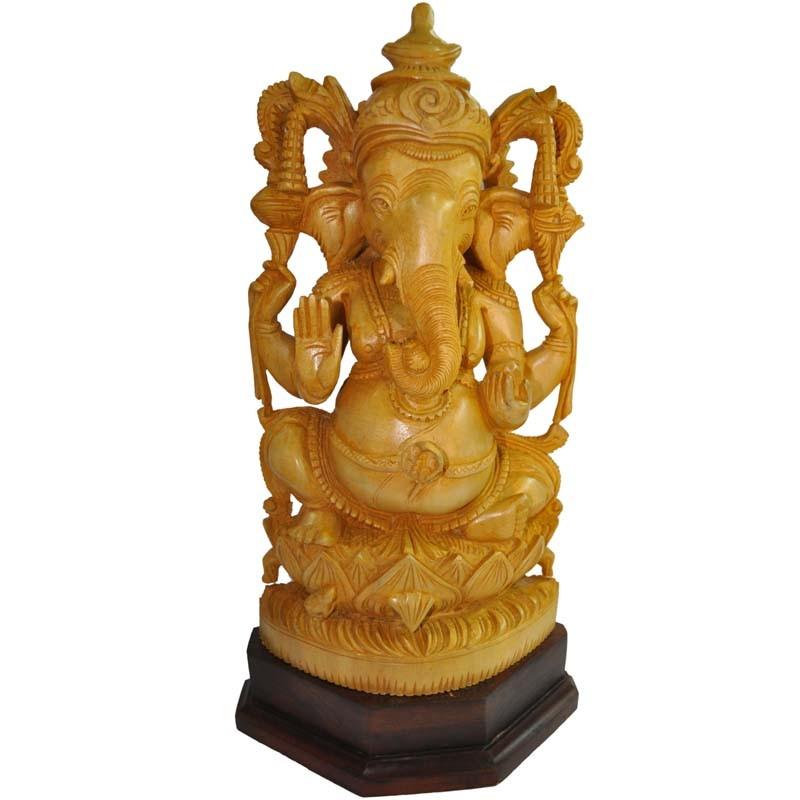 Ganesha Wooden Idol