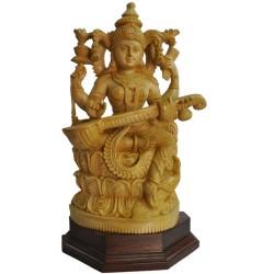 Saraswathi Wooden Statue