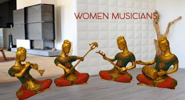 Musician set brass statue