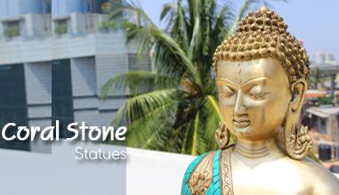 buddha coral brass idol